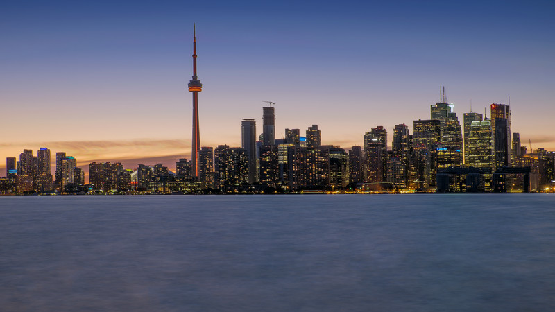 Toronto skyline during the blue hour