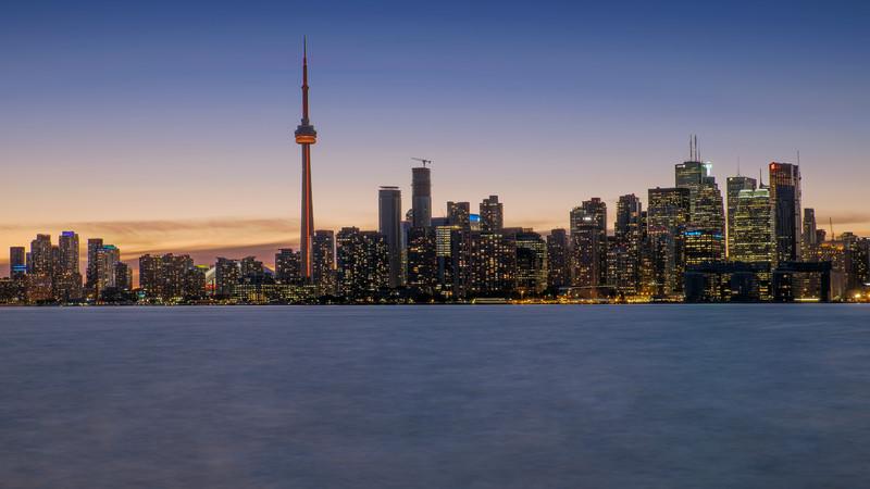 Toronto skyline during the blue hour