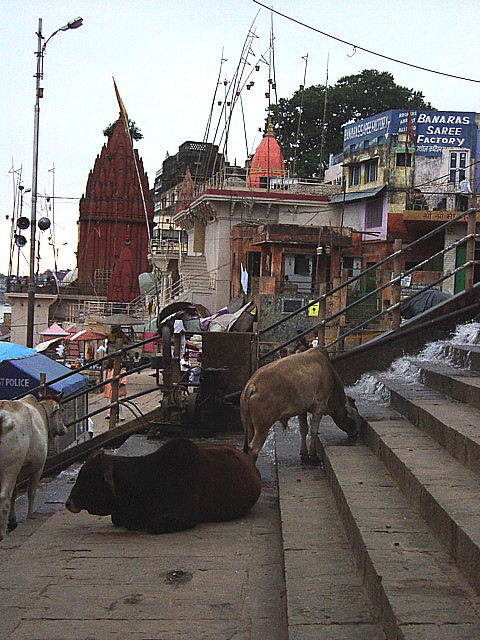 steps to Ganges River ghats, Varanasi, India