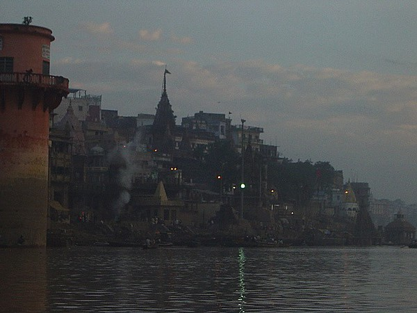 morning fires at the crematoriums, Varanasi, India