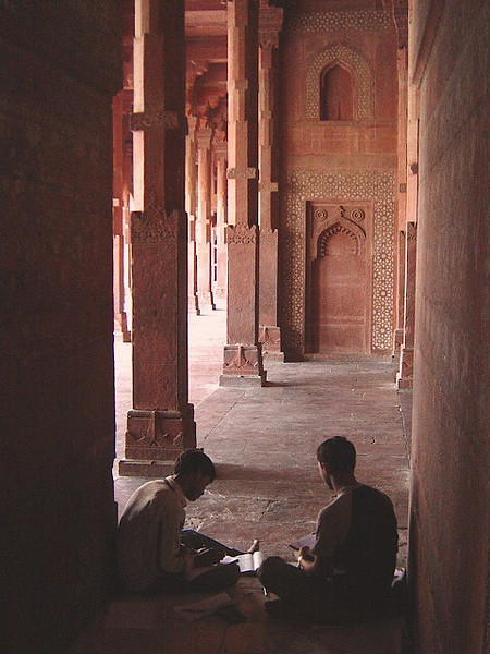 young men studying in the mosque at Fatipur Sikri