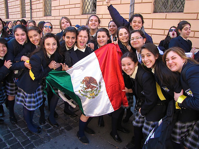 a group of Mexican girls on their way to meet the Pope on Christmas day.