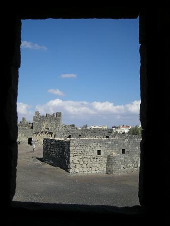 Courtyard at Qala'at Al-Azraq, a black basalt castle in the eastern desert, Jordan