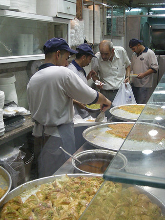 Making knafa at Habiba's in Amman