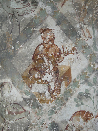 Music playing bear frescoe at Qusayr Amra, Jordan