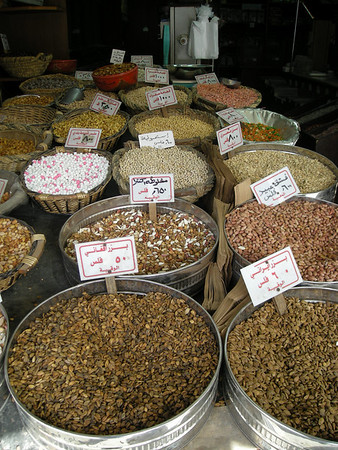 in a nut market in the downtown, al-Balad, area of Amman, Jordan