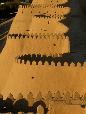 The old city walls in Kiva at sunset