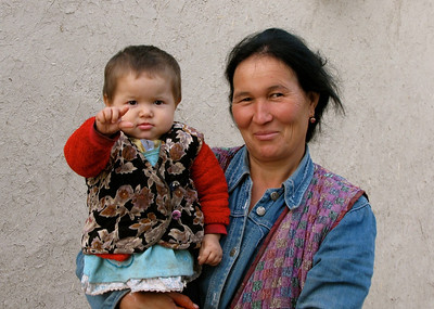 mother and child in a village near Bukhara