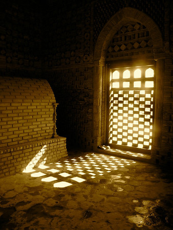 in a mausoleum outside of Bukhara