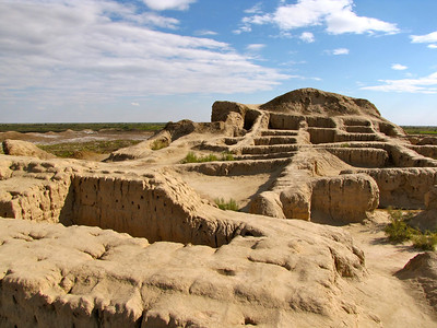 ruins of ancient desert cities - Qualas - in the Khorazm region of western Uzbekistan