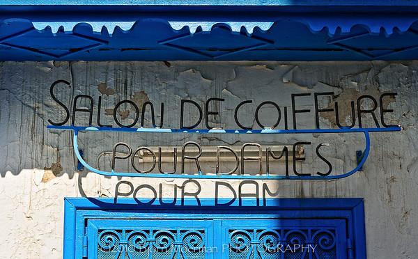 Hairdresser sign at Sidi Bou Said, Tunis