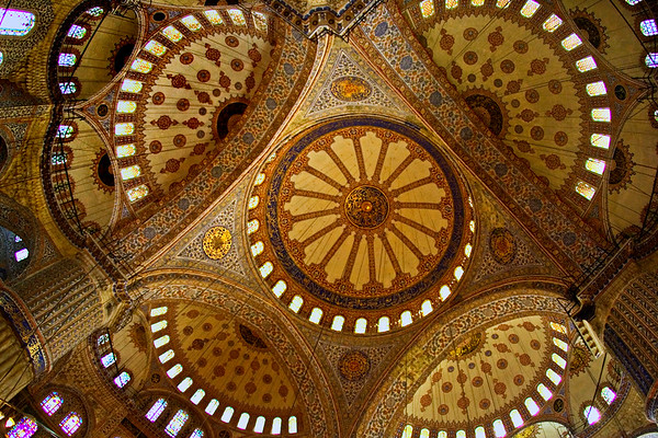 Locations outside and inside Blue Mosque