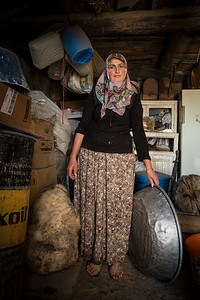 Local Woman Making Sheep Cheese. Eastern Turkey.