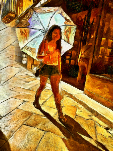 Girl on the street with umbrella