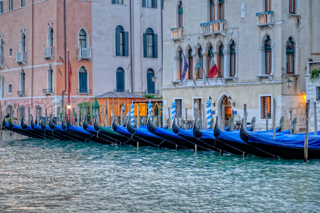 Gondolas put to bed, Grand Canale, Venice