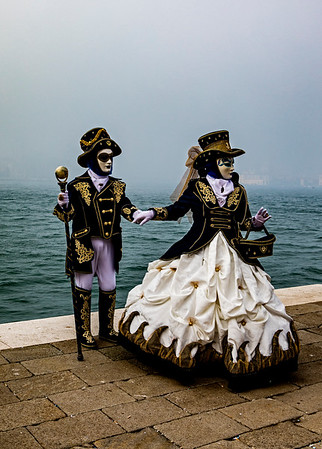 ITALY; Venice; Carnival; The Grand Canal; Mask people of Carnival