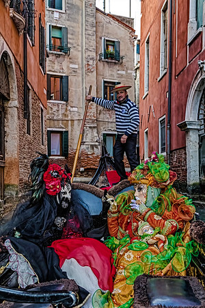 ITALY; Venice; Mask people of Carnival; Canals of Venice