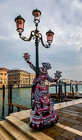 ITALY; Venice; Basilica of Santa Maria Della Salute; Mask people of Carniva
