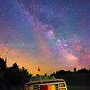 Milky Way over Truck with Airglow from the Summit of Green Mountains in Mount Holly Vermont