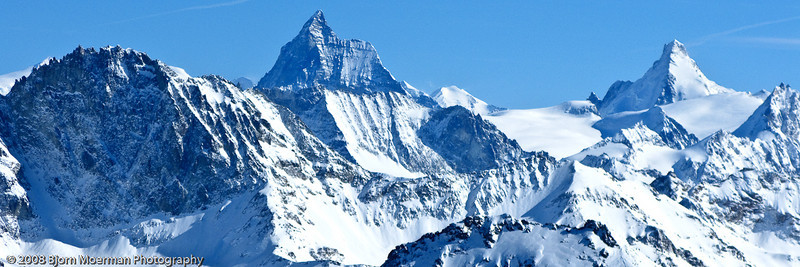 Panoramic view from the Mont Fort on the Matterhorn (4478m) and other +4000m mountains.