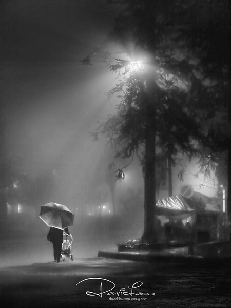 """Night shopping - Amid the heavy mist, we never relent and went out photographing in one of the nights. It was my first time experiencing such heavy fog and wasn't quite hopeful of any good shots.   A few shots attempted here and there and voila, I got an iridescent sheen of the subject under the dazzling lamp post and the unexpected """"catch"""" of the night."""