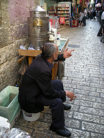 a tea and coffee vendor in the Muslim Quarter of the old city
