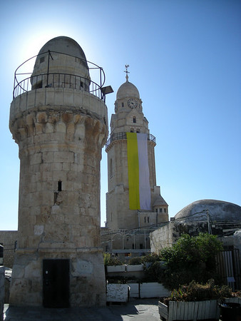 the mosque minarette above the Last Supper room and the tower of the Church of the Dormition, outside the old city, Jerusalem