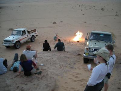 having tea in the desert