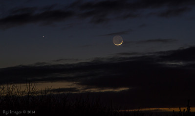 New moon over Ocean City State Park, WA.