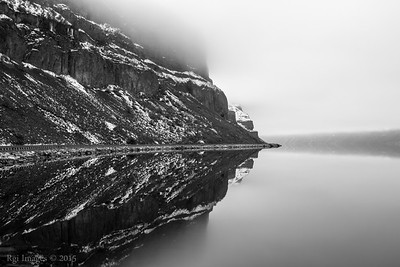 Reflected hillside in Banks Lake.