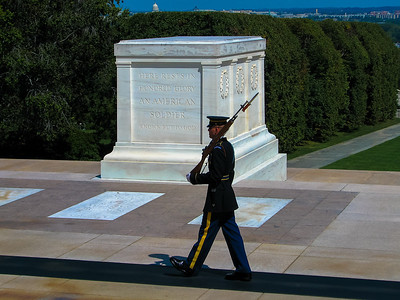 Arlington Cemetery, VA: The Tomb of the Unknown Soldier - it is guarded 24 hours a day, 365 days a year, and in any weather by Tomb Guard sentinels. Sentinels, all volunteers, are considered to be the best of the elite 3rd U.S. Infantry Regiment (The Old Guard), headquartered at Fort Myer, Va.