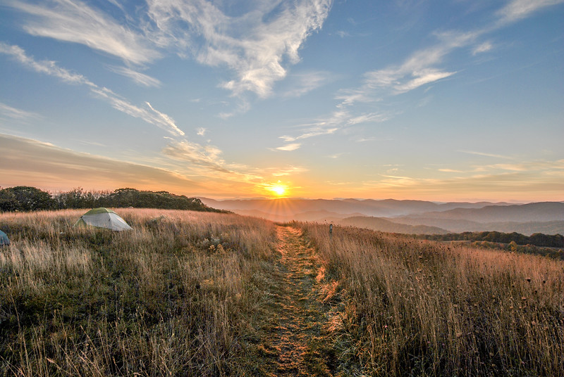 Sunrise while hiking some of the Appalachian Trail on top of Max Patch, NC.
