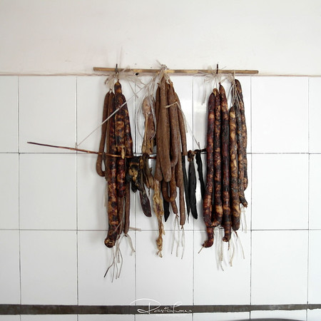 Sausages hanging to dry