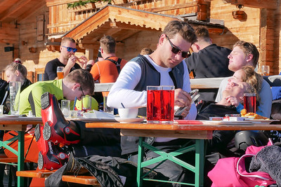 Zillertal Arena.  At restaurant Larmach_alm, at the end of 52 slope