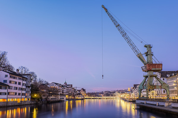 Old crane along the Limnan river, Zurich