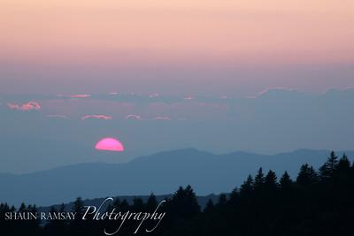 Sinking Sun and the Blue Ridge Mountains, North Carolina