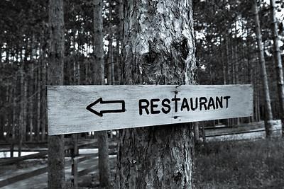 Restaurant Sign Deep inside Woods