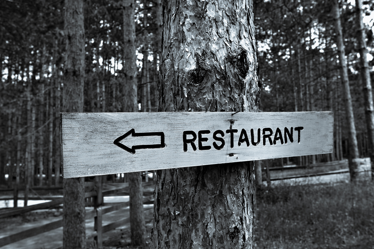 Restaurant Sign Deep inside Woods