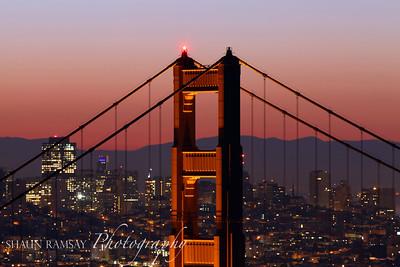 Golden Gate Bridge Detail at Sunrise