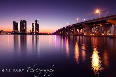 MacArthur Causeway and Miami Skyline in Twilight