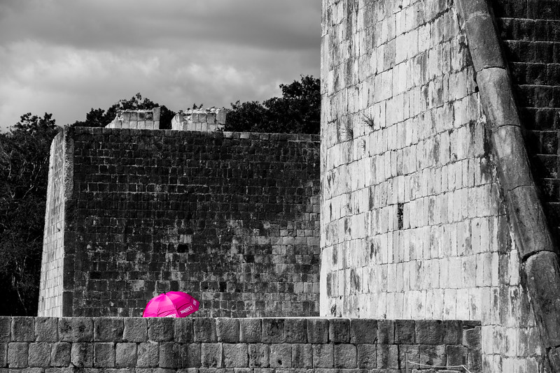 Red Umbrella at Chichen Itza