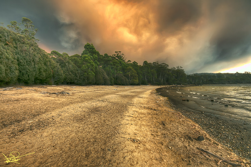 Forest Fire over Lake St Claire, Tasmania