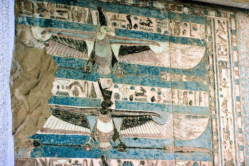 Hieroglyphs within temple interior - Original color