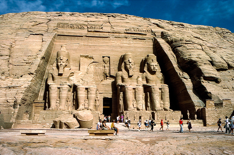 Mercedes & tour mates in front of Abu Simbel