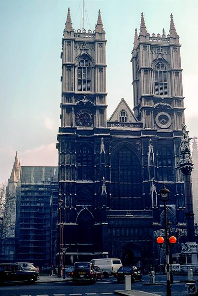 Westminster Abbey under restoration - 1981