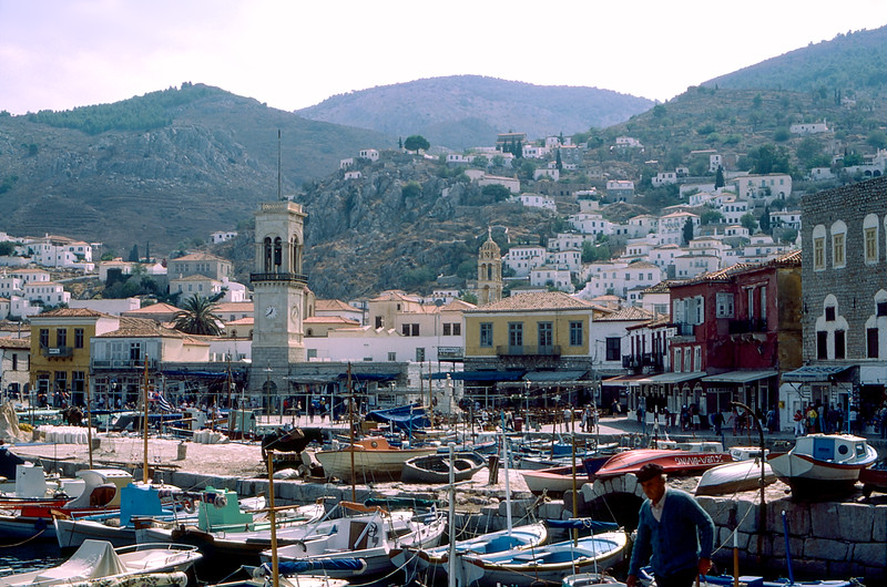 Hydra including the bell tower of church Assumption