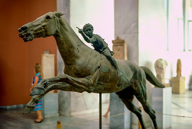 Jockey of Artemision - Hellenistic bronze statue of a young boy riding a horse (150–140 BCE)
