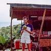 Enjoying a fresh cold coconut drink