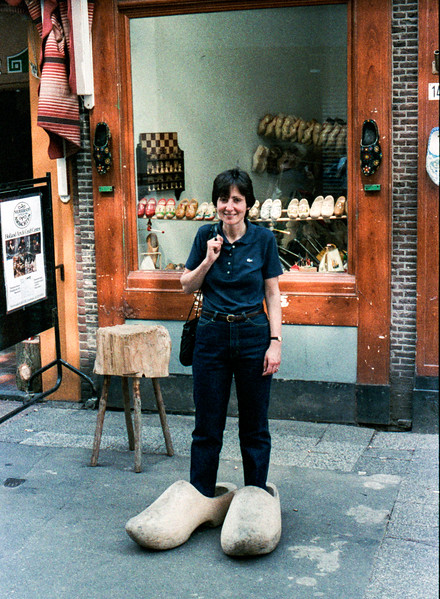 Mercedes trying on clogs, a tad large - 1985