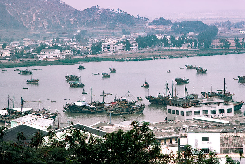 Macau harbor with Chinese 'Junk' boats  - 1980